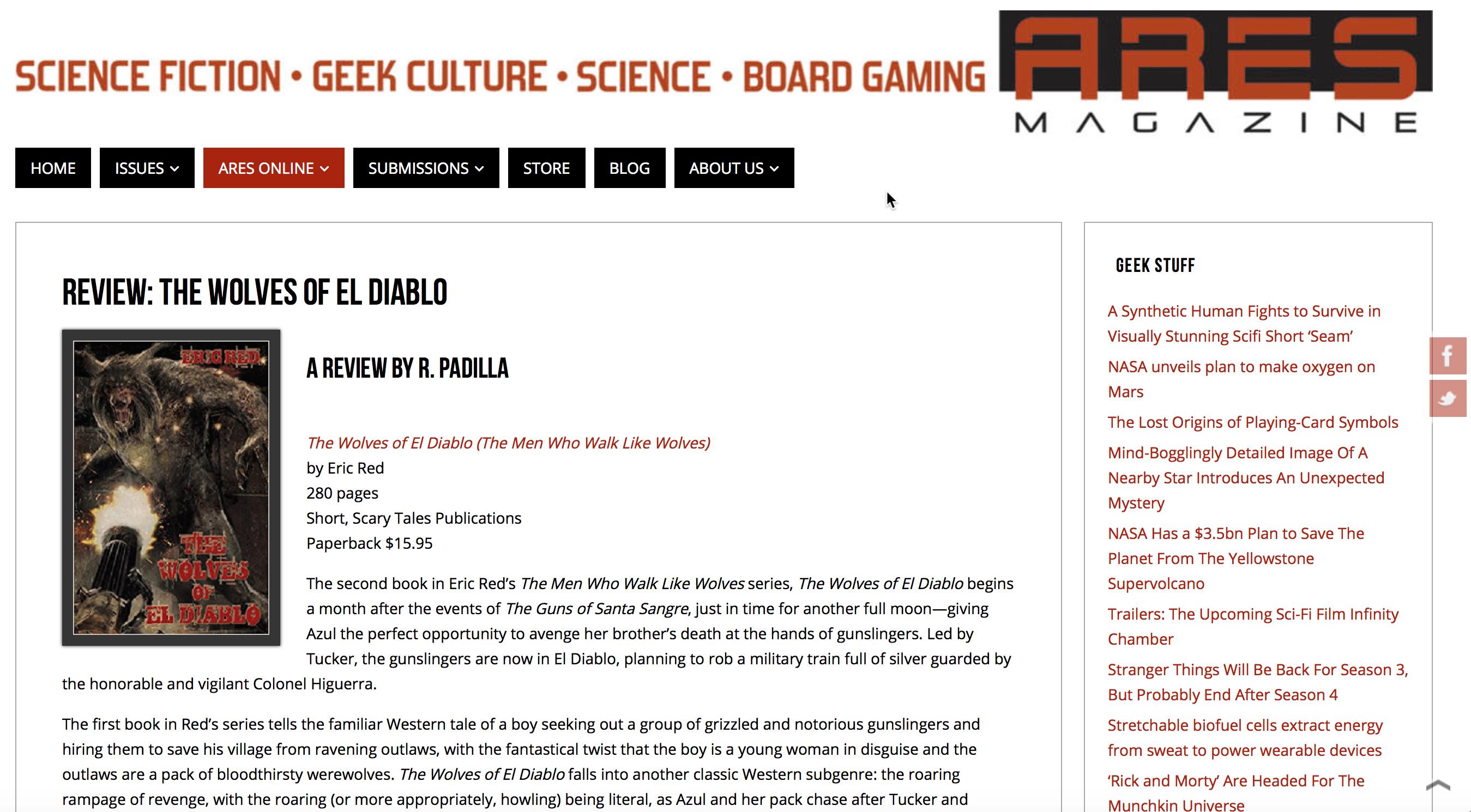 THE WOLVES OF EL DIABLO - Ares Magazine review.1