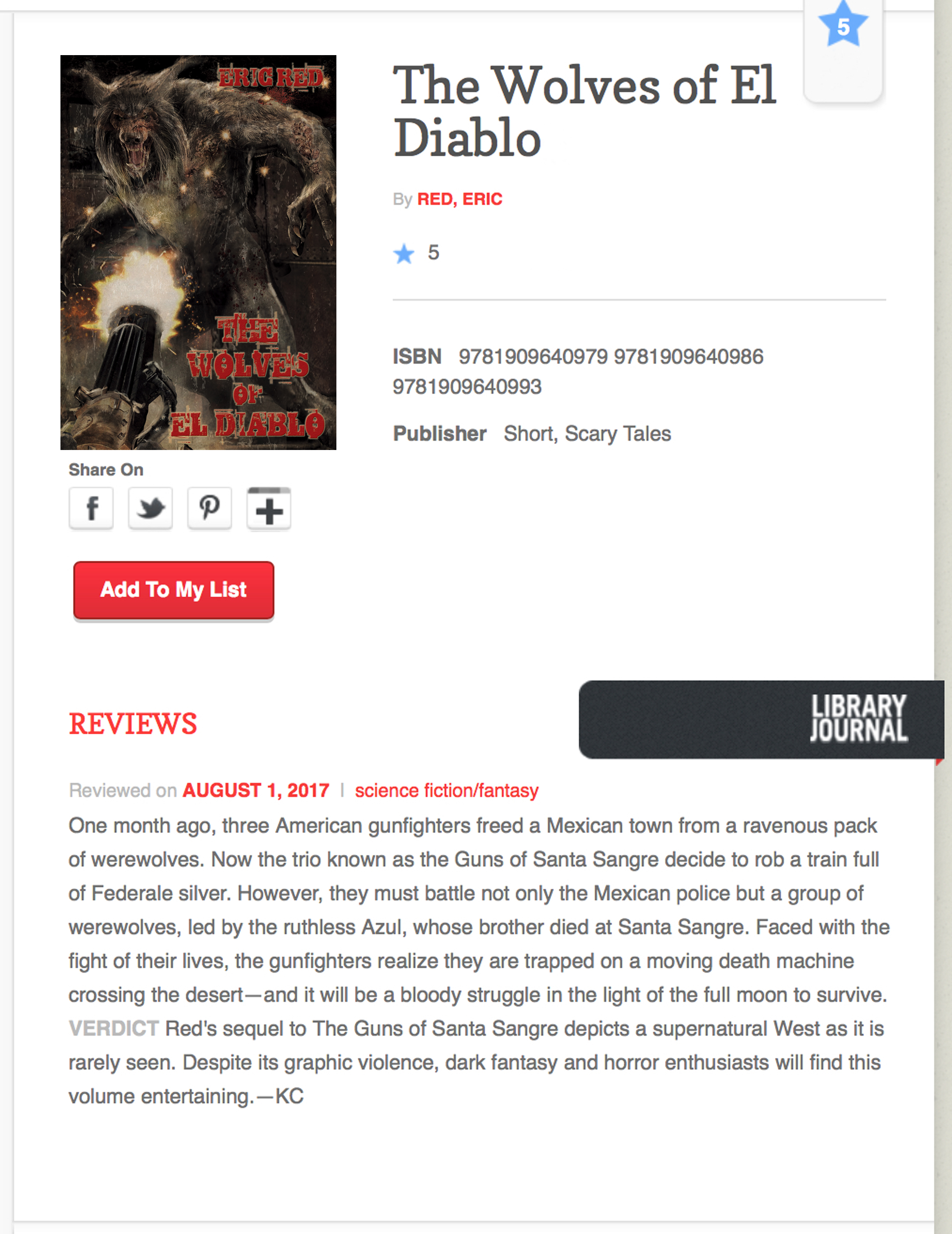 THE WOLVES OF EL DIABLO - Library Journal review.2